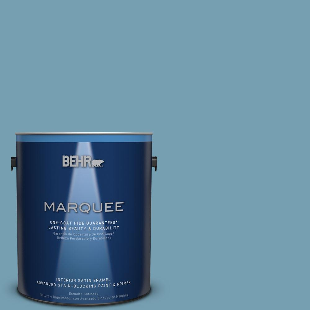 1 gal. #S480-4 Saga Blue One-Coat Hide Satin Enamel Interior Paint