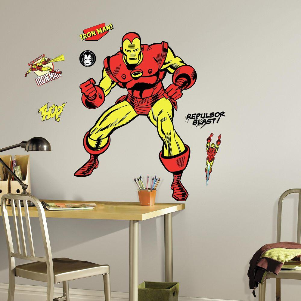 5 in. x 19 in. Classic Iron Man Comic 18-Piece Peel