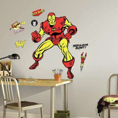 5 in. x 19 in. Classic Iron Man Comic 18-Piece Peel and Stick Giant Wall Decal