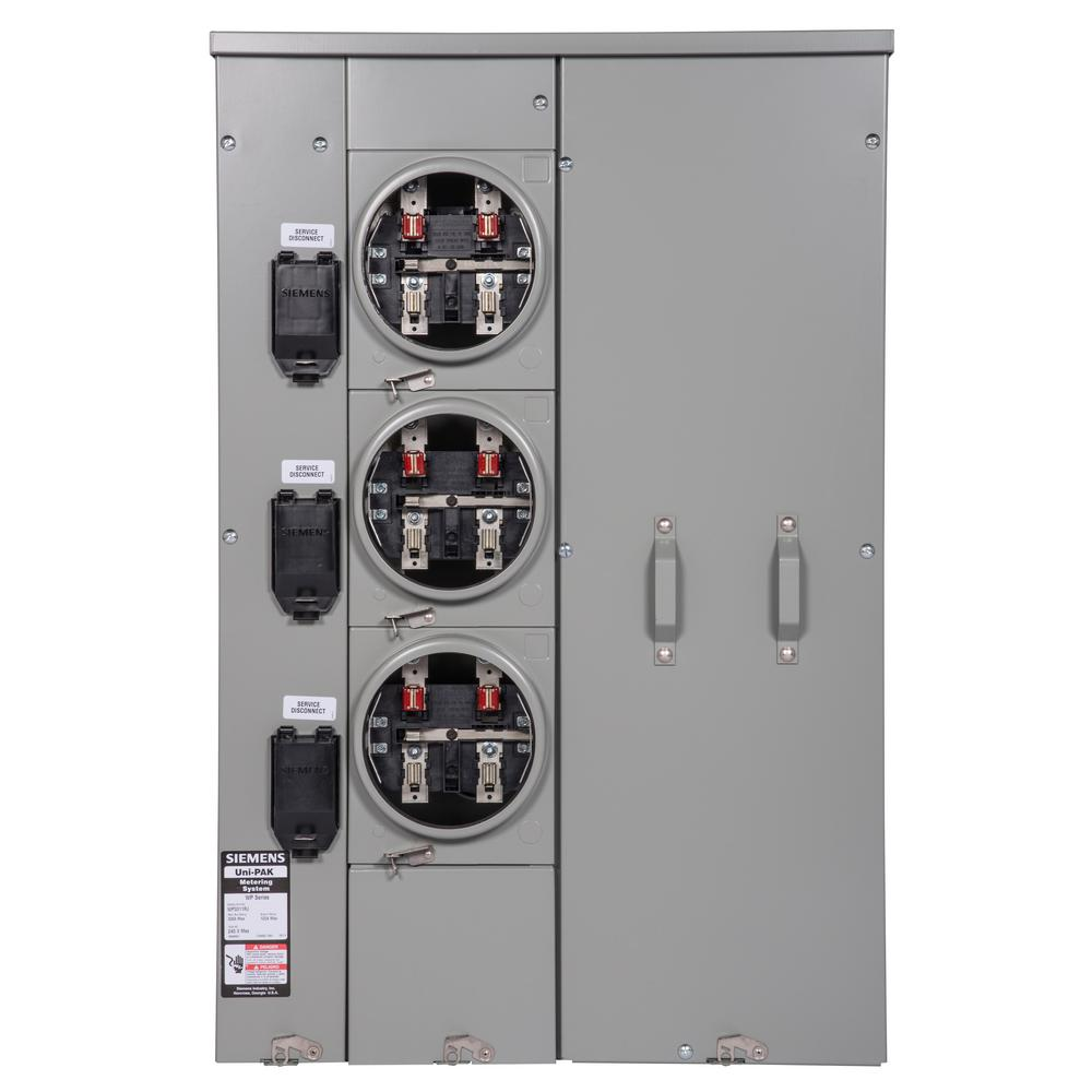 siemens uni pak 3 gang 300 amp ring style multi family metering wp3311 the home depot. Black Bedroom Furniture Sets. Home Design Ideas
