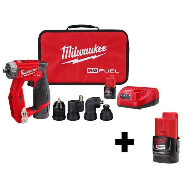 M12 FUEL 12-Volt Lithium-Ion Brushless Cordless 4-in-1 Installation 3/8 in. Drill Driver Kit W/ Bonus 2.0Ah Battery