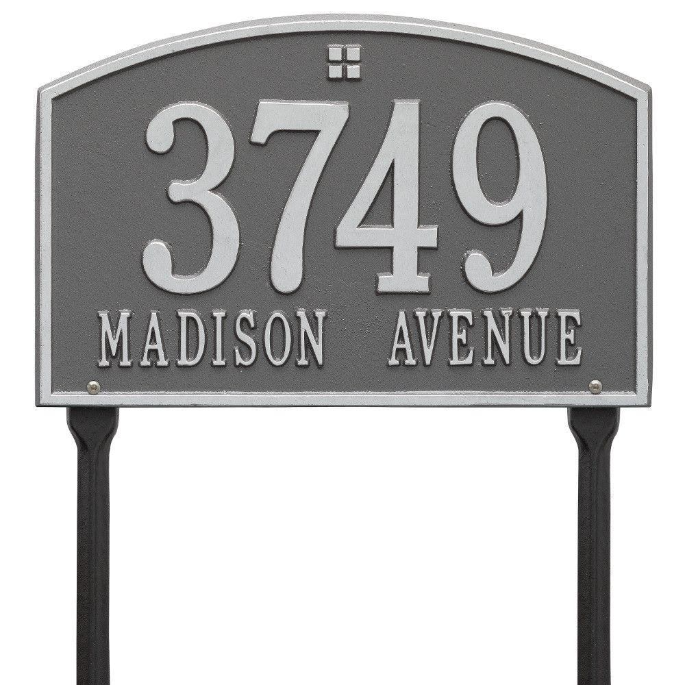 Cape Charles Rectangular Pewter/Silver Standard Lawn 2-Line Address Plaque