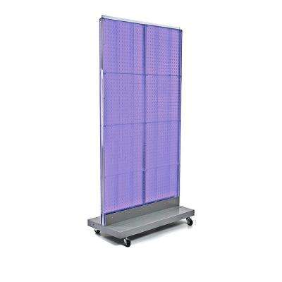 60 in. H x 32 in. W 2-Sided Double Pegboard Floor Display On Wheeled Base in Purple