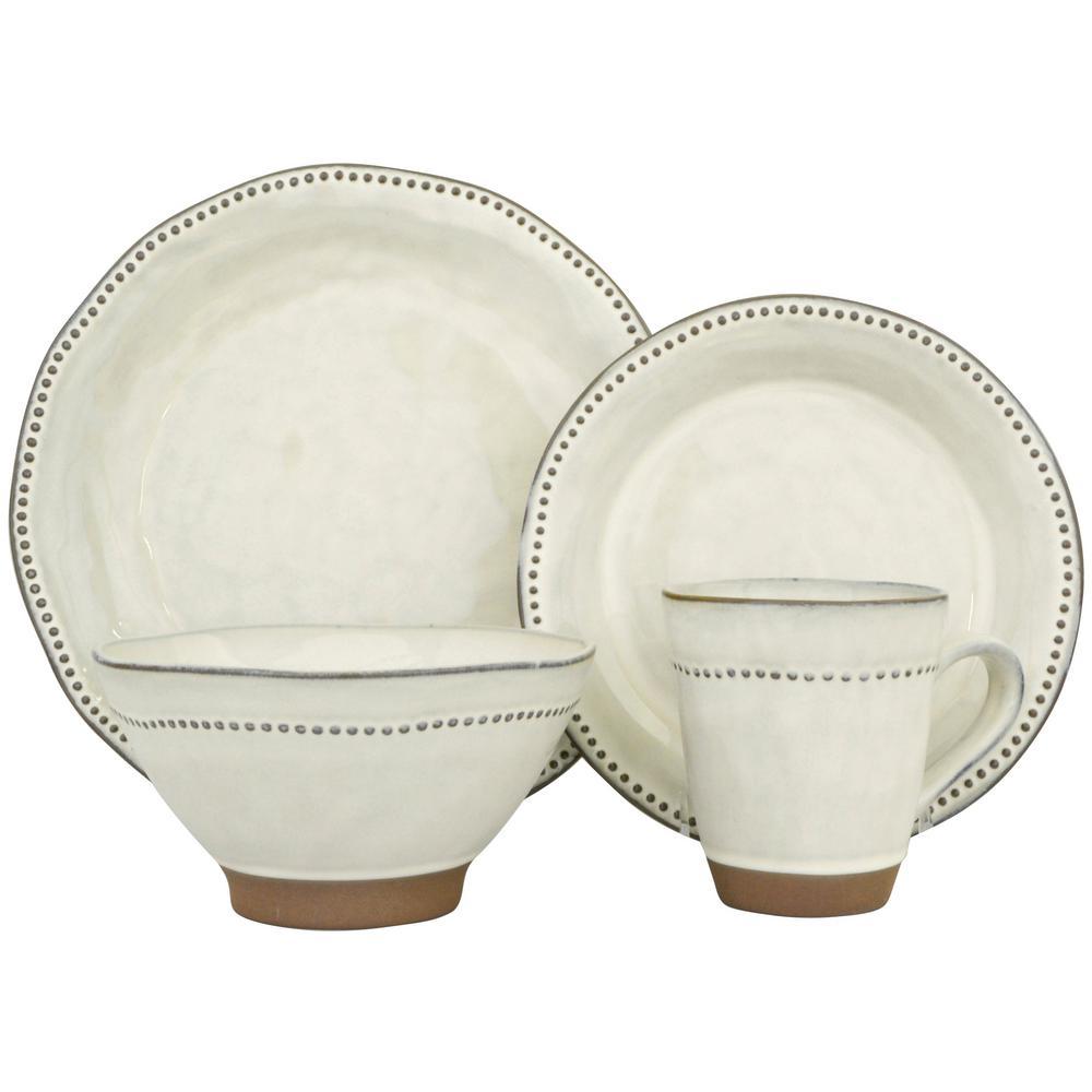 Beau Sango Cyprus White 16 Piece Dinnerware Set