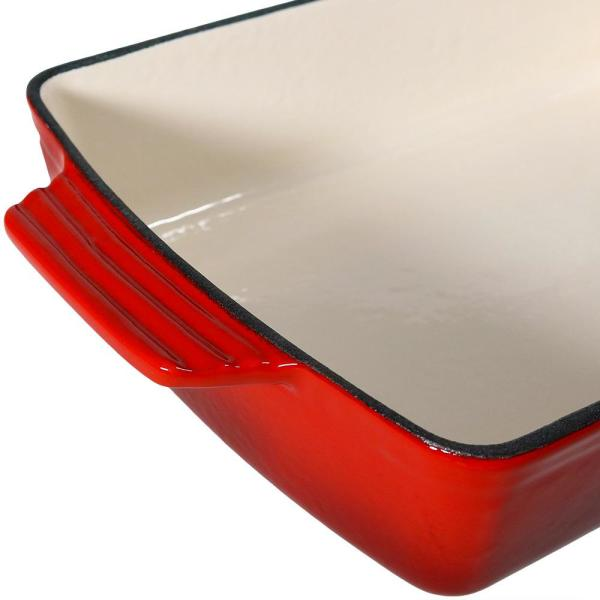holds 10/½ quarts with glass lid Solid Red Enamelware 16 x 12/½ x 4 inch deep Lasagna Pan