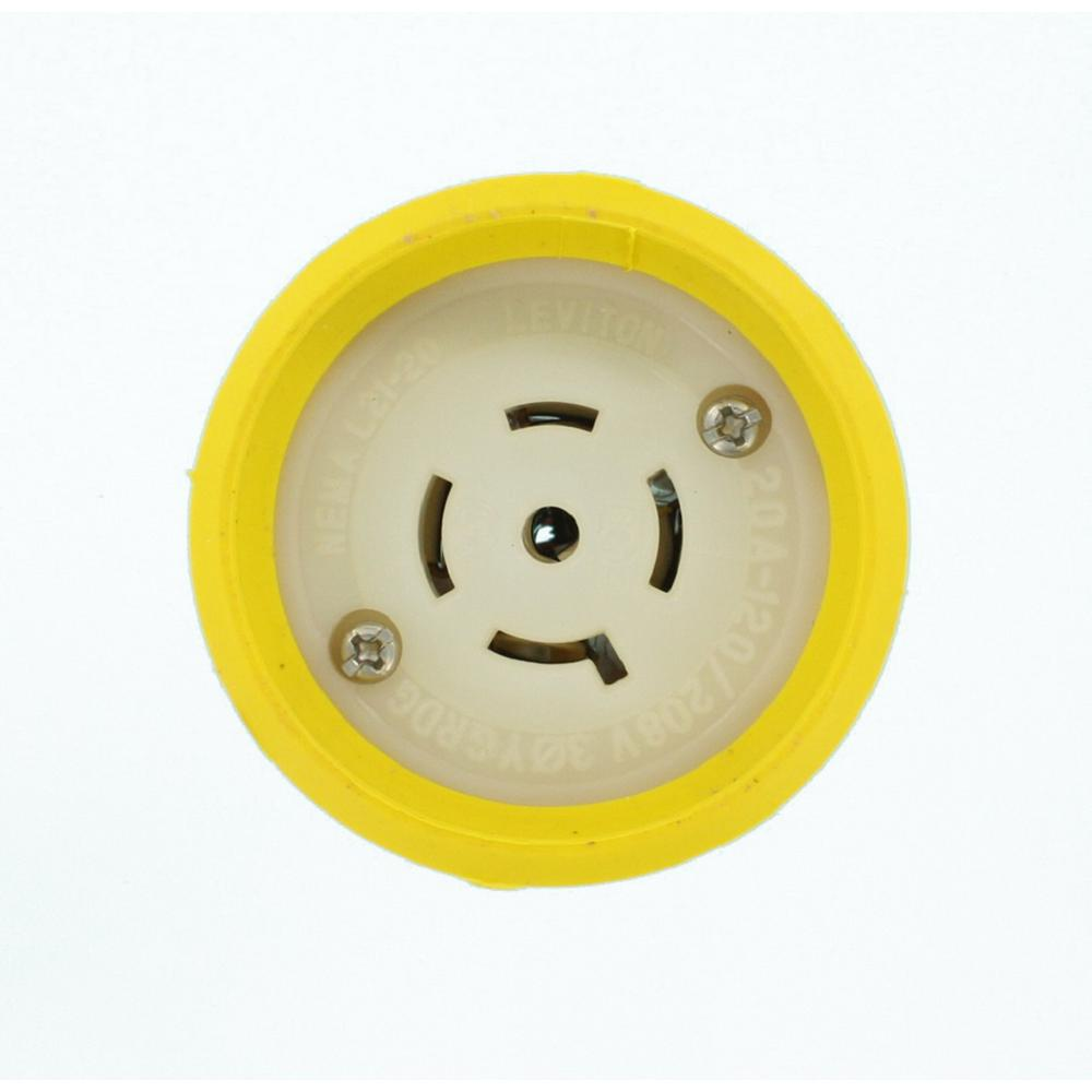 Leviton 20 Amp 250 Volt Grounding Connector Yellow 620cv The Home 3 Phase Wiring Plugs 120 208 Wetguard Locking
