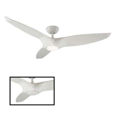 Morpheus III 60 in. LED Indoor/Outdoor Gloss White 3-Blade Smart Ceiling Fan with 3000K Light Kit and Wall Control