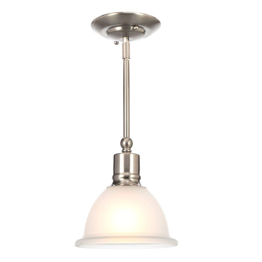 Progress Lighting Madison Collection 7.5 in. 1-Light Brushed Nickel Mini  Pendant with Etched Glass Shade