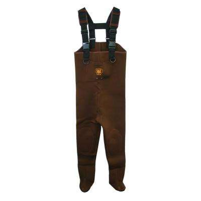 Men's Large Neoprene Reinforced Knee Exterior Pocket Gravel Cuffs Adjustable Suspender Chest Wader in Brown