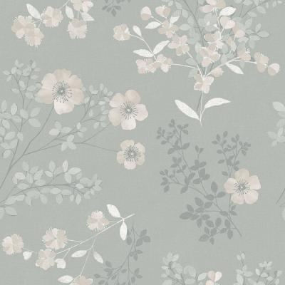 Prairie Rose Taupe Floral Wallpaper Sample