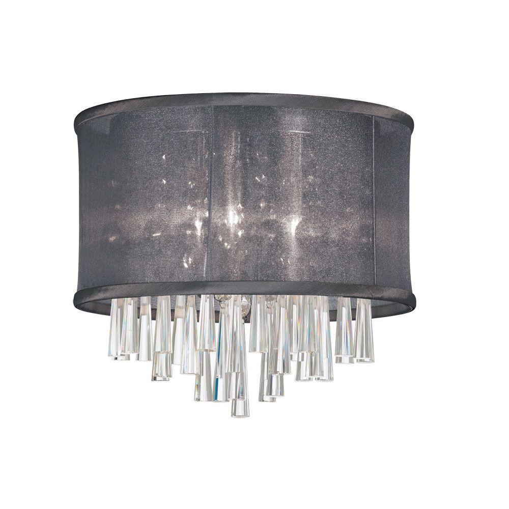 Josephine 3-Light Polished Chrome Crystal Flush Mount with Black Organza Drum Shade