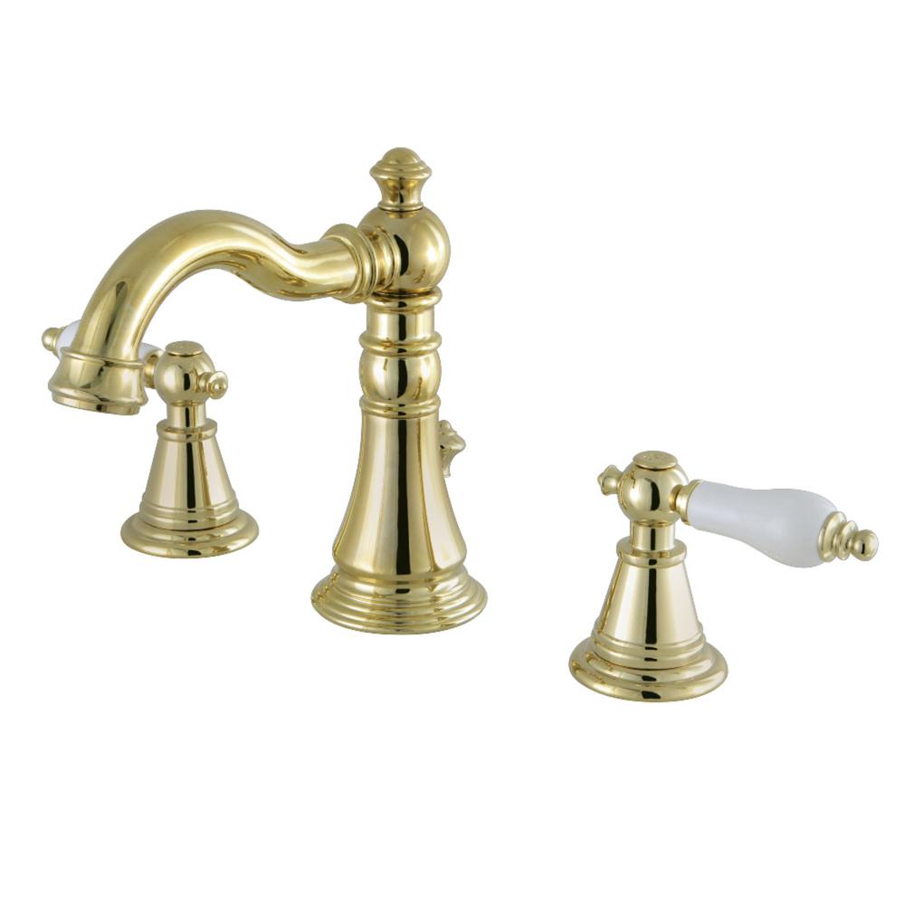 Kingston brass classic porcelain 8 in widespread 2 handle - Polished brass high arc bathroom faucet ...