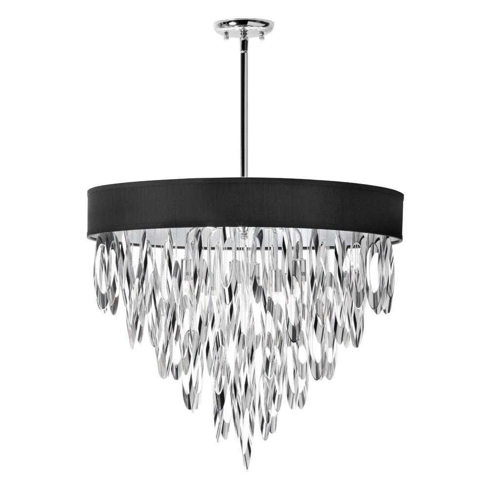 Allegro 8-Light Polished Chrome Chandelier with Black Shade