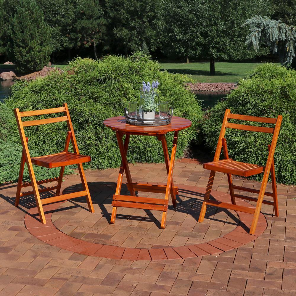3-Piece Brown Wood Folding Outdoor Patio Bistro Set