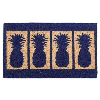 Four Pineapples 30 in. x 18 in. Hand Woven Coconut Fiber Door Mat