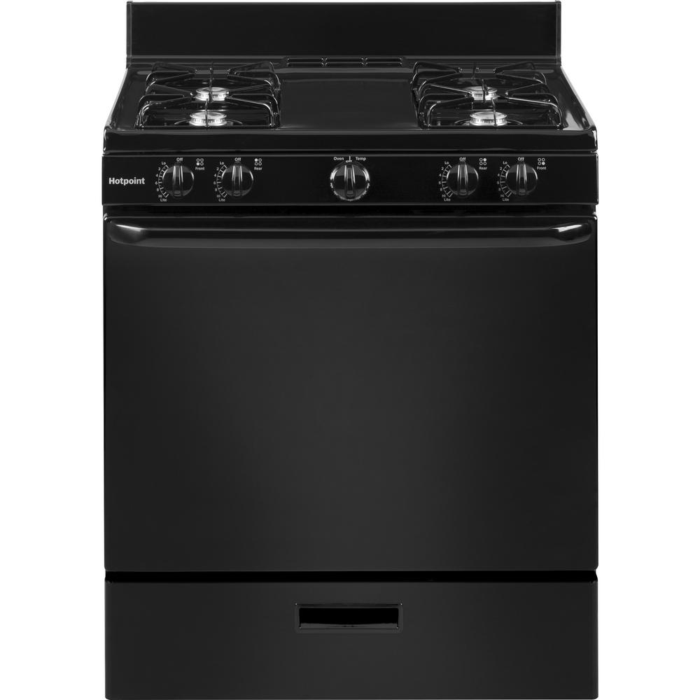 Hotpoint 30 In 4 8 Cu Ft Gas Range Oven In Black