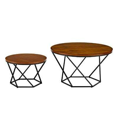 Geometric Wood Nesting Coffee Tables in Walnut and Black