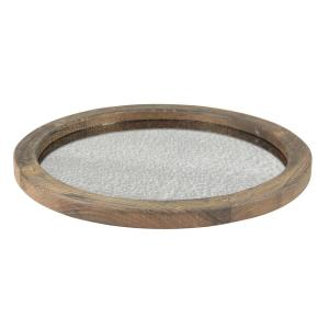 Stonebriar Collection Brown Rustic Wood and Antique Mirror Serving Tray by Stonebriar Collection