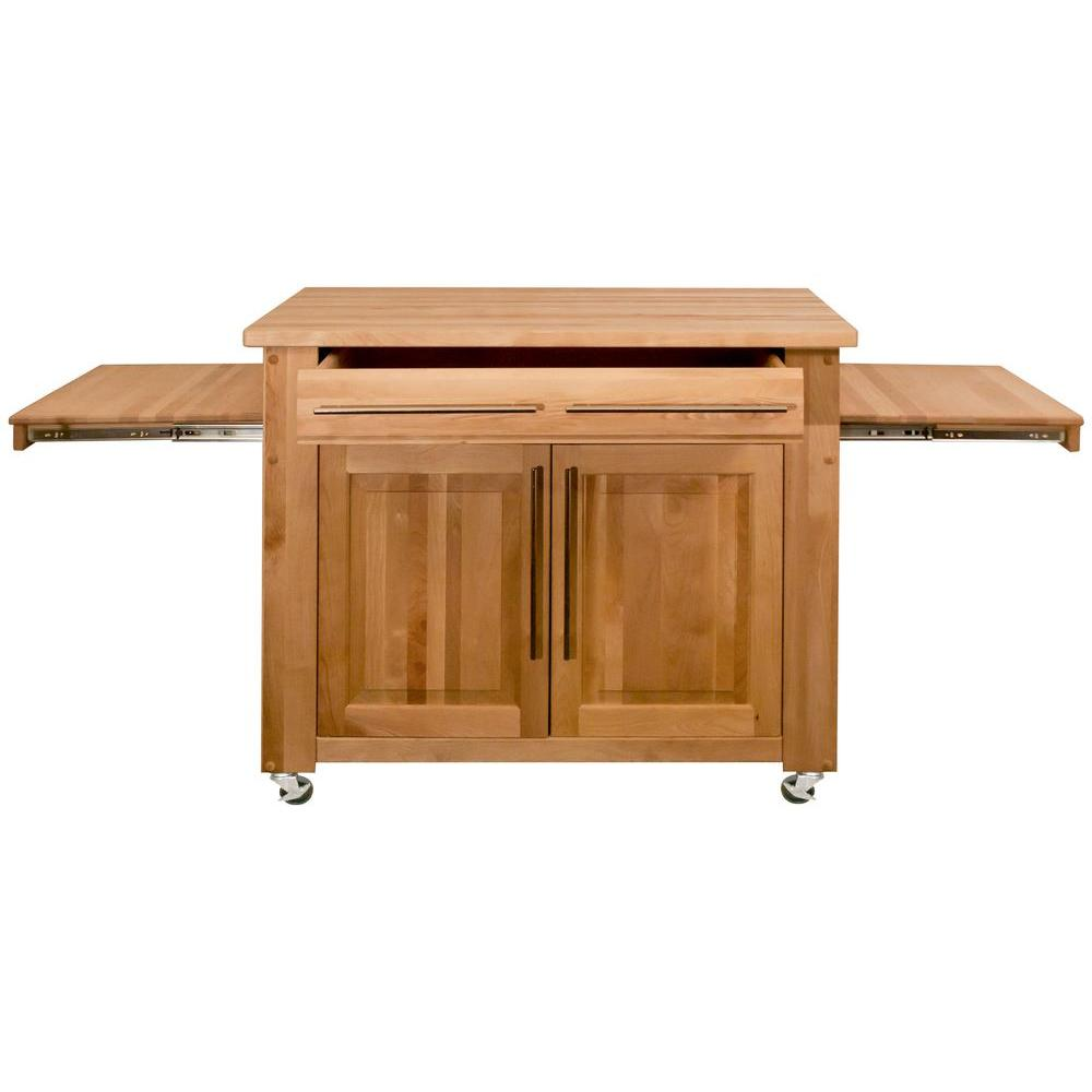Catskill Craftsmen Catskill Natural Kitchen Island with Pull Out Leaves