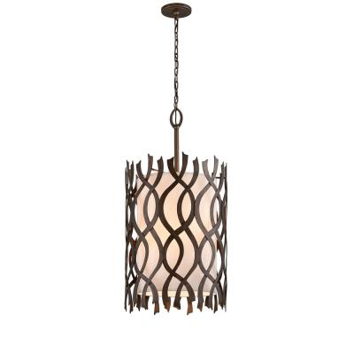 Mai Tai 8-Light Cottage Bronze 22 in. W Pendant with Hardback Linen Shade