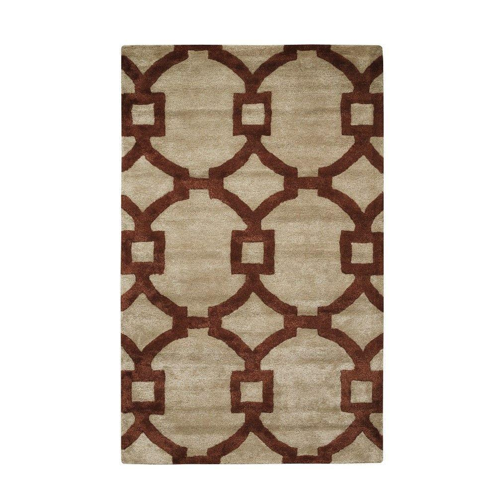 Home Decorators Collection Sawyer Beige/Red 8 ft. x 11 ft. Area Rug ...