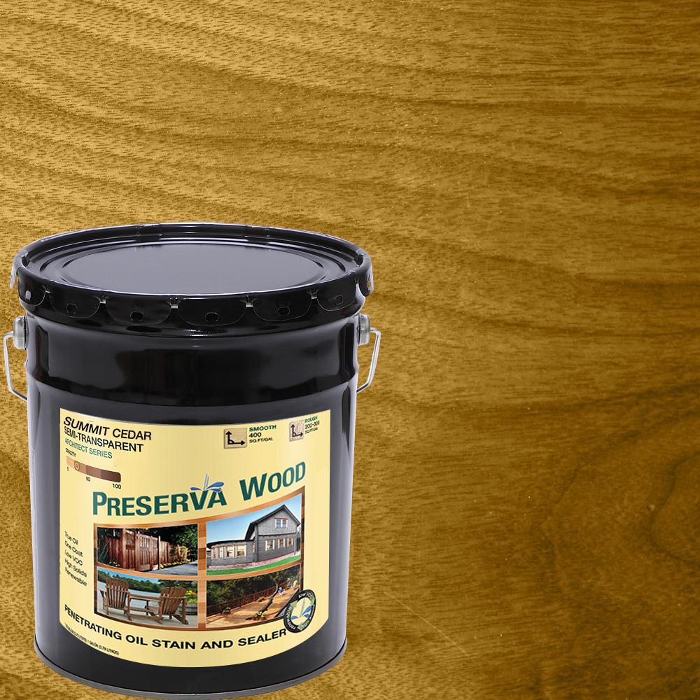 5 gal. Summit Cedar Semi-Transparent Oil-Based Wood Stain