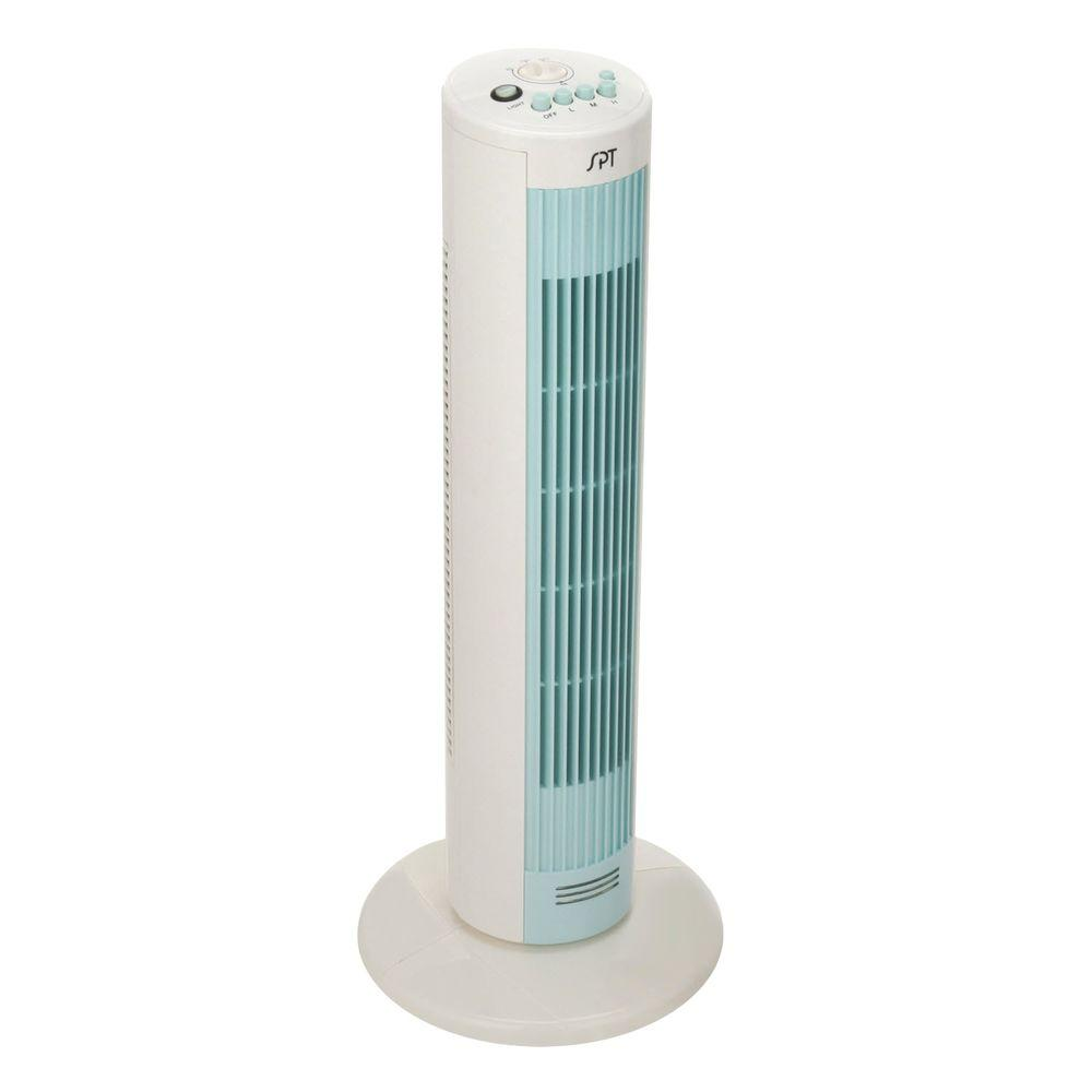 SPT 11 in. 3-Speed Oscillating Tower Fan with Night Light