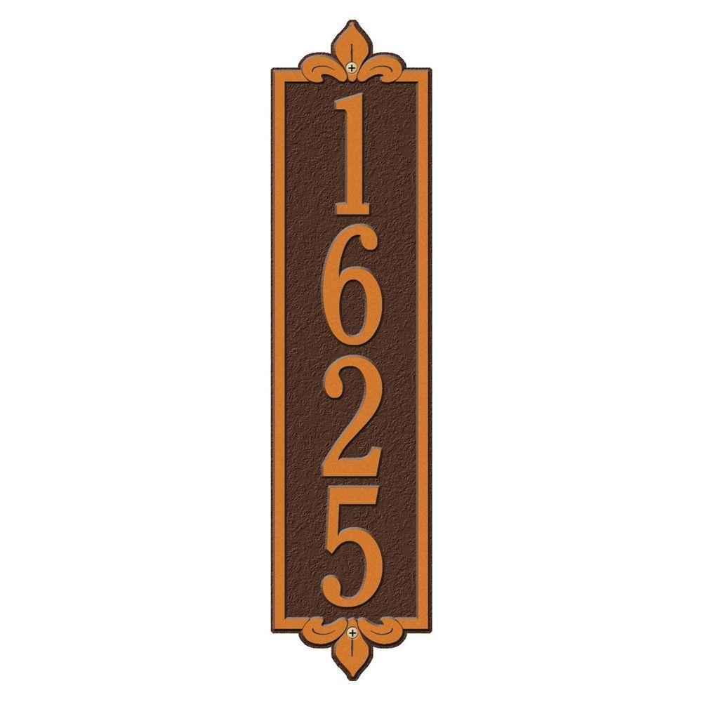 Rectangular Lyon Estate Wall 1-Line Vertical Address Plaque - Antique Copper