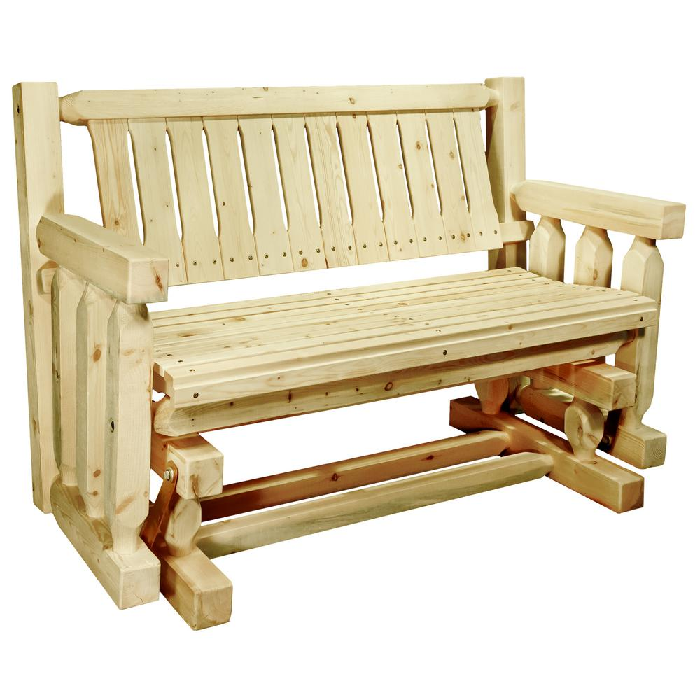 Montana Woodworks Homestead 2-Person Exterior Finish Wood Outdoor Glider A popular item for the front porch, this glider/rocker is enjoyed by many. Handcrafted in the mountains of Montana using solid, American grown wood, the artisans rough saw all the timbers and accessory trim pieces for a look uniquely reminiscent of the timber-framed homes once found on the American frontier. The close relative of Montana Woodworks deck bench, this glider design incorporates glides that allow it to gently rock back and forth. Some assembly required. Seat height 19 in. Seat depth 18 in. Seat width 46 in. Capacity 375 lbs. This item comes professionally finished with a premium grade exterior finish. 20-year limited warranty included at no additional charge.