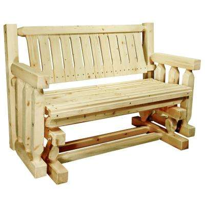 Homestead 2-Person Exterior Finish Wood Outdoor Glider