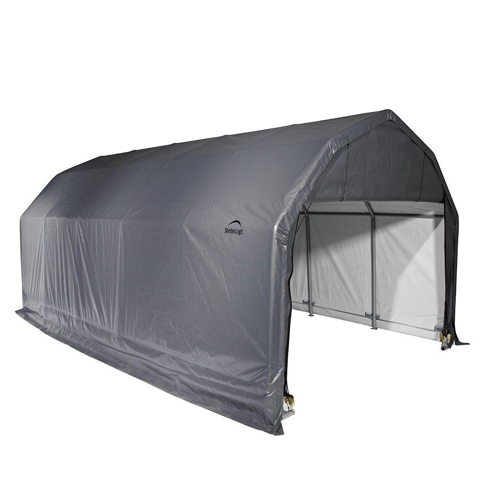 12 ft. x 24 ft. x 11 ft. Grey Steel and  sc 1 st  The Home Depot & Portable Garages u0026 Car Canopies - Carports u0026 Garages - The Home Depot