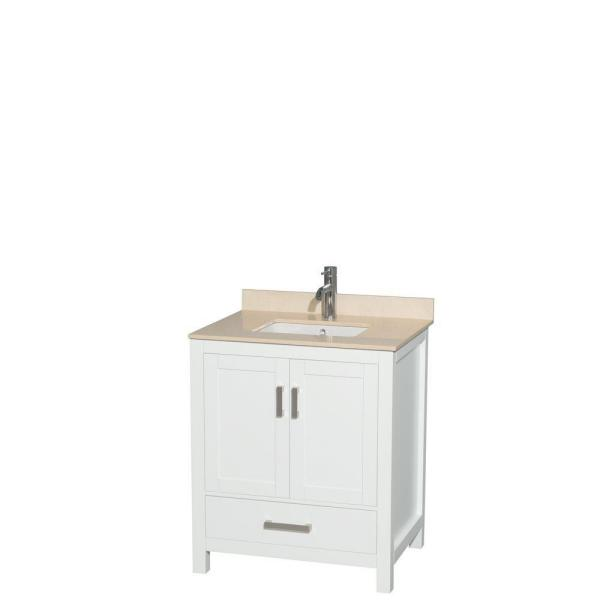 Sheffield 30 in. W x 22 in. D Vanity in White with Marble Vanity Top in Ivory with White Basin
