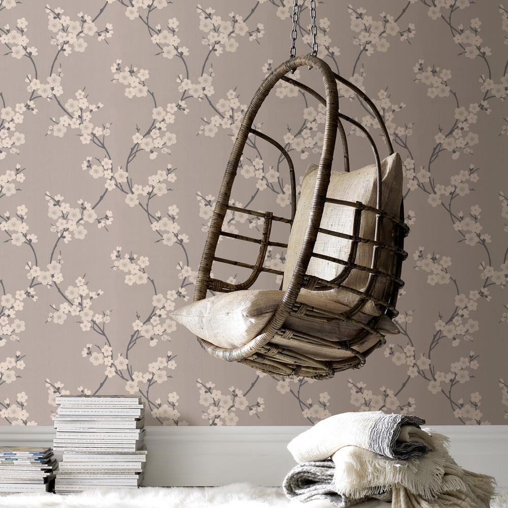 Graham Brown Taupe And Charcoal Cherry Blossom Wallpaper