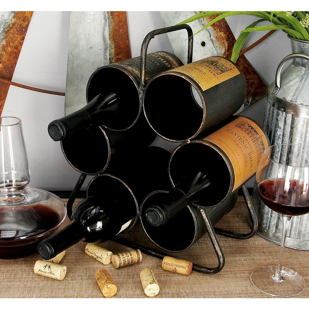 12 in. x 14 in. 6-Bottle Vintage Label Wine Rack in Distressed Black