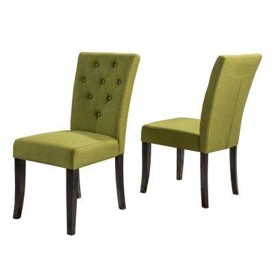 Nyomi Apple Fabric Tufted Dining Chair (Set of 2)
