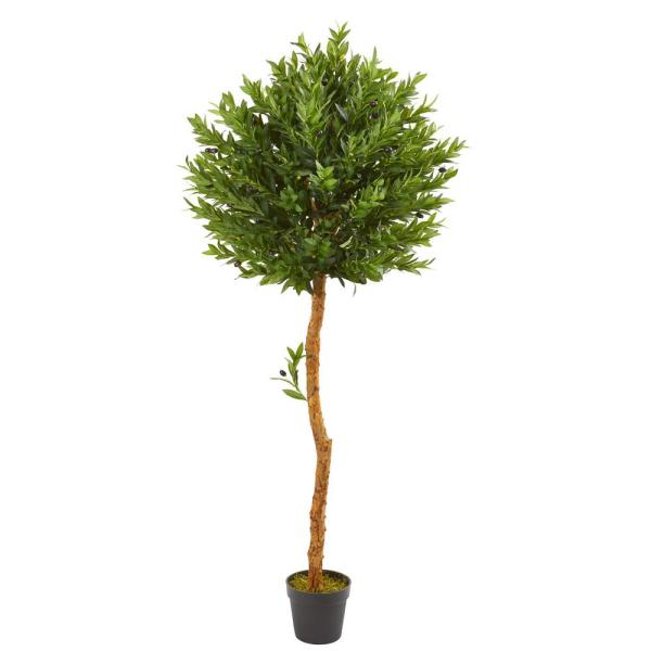 Nearly Natural 5.5 ft. Indoor/Outdoor Olive Topiary Artificial Tree 9133