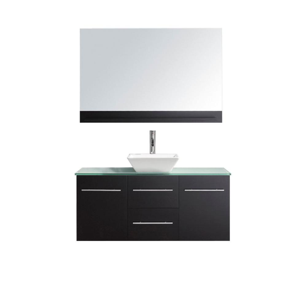 Virtu USA Marsala 49 in. W Bath Vanity in Espresso with Glass Vanity Top in Aqua with Square Basin and Mirror and Faucet
