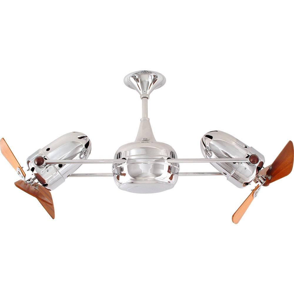 Matthews Gerbar Duplo-Dinamico 36 in. Indoor Polished Chrome Ceiling Fan with Wall Control
