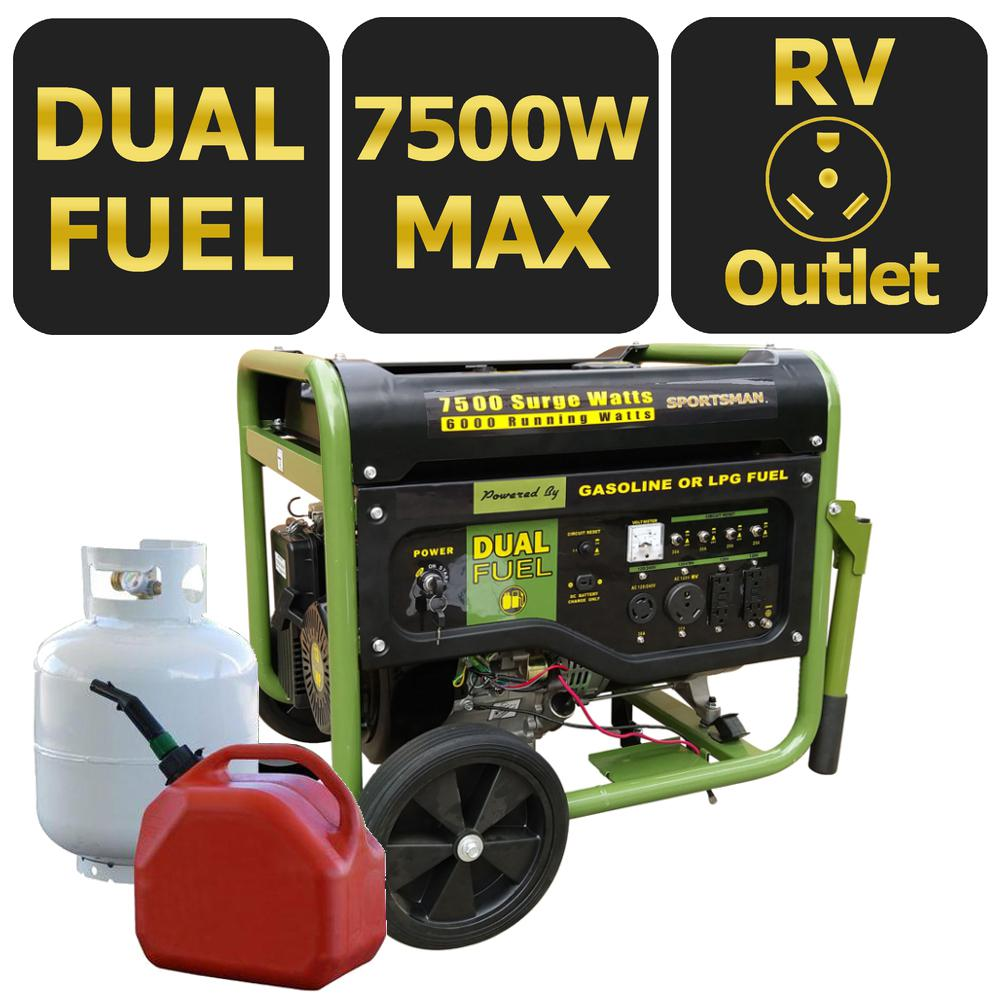 Sportsman 7500 6000 Watt Dual Fuel Powered Portable Generator With Wiring To House Electric Start And Runs