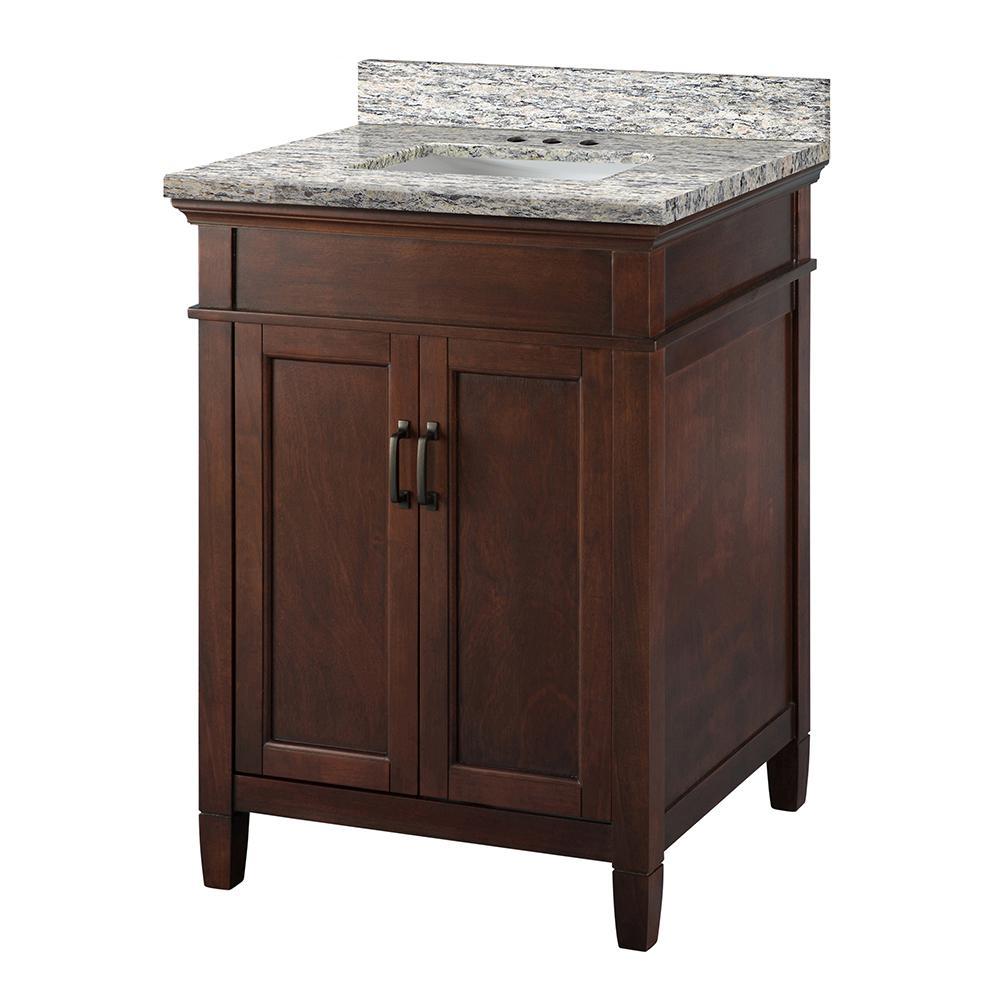 Ashburn 25 in. W x 22 in. D Vanity Cabinet in Mahogany with Granite Vanity Top in Santa Cecilia with White Sink