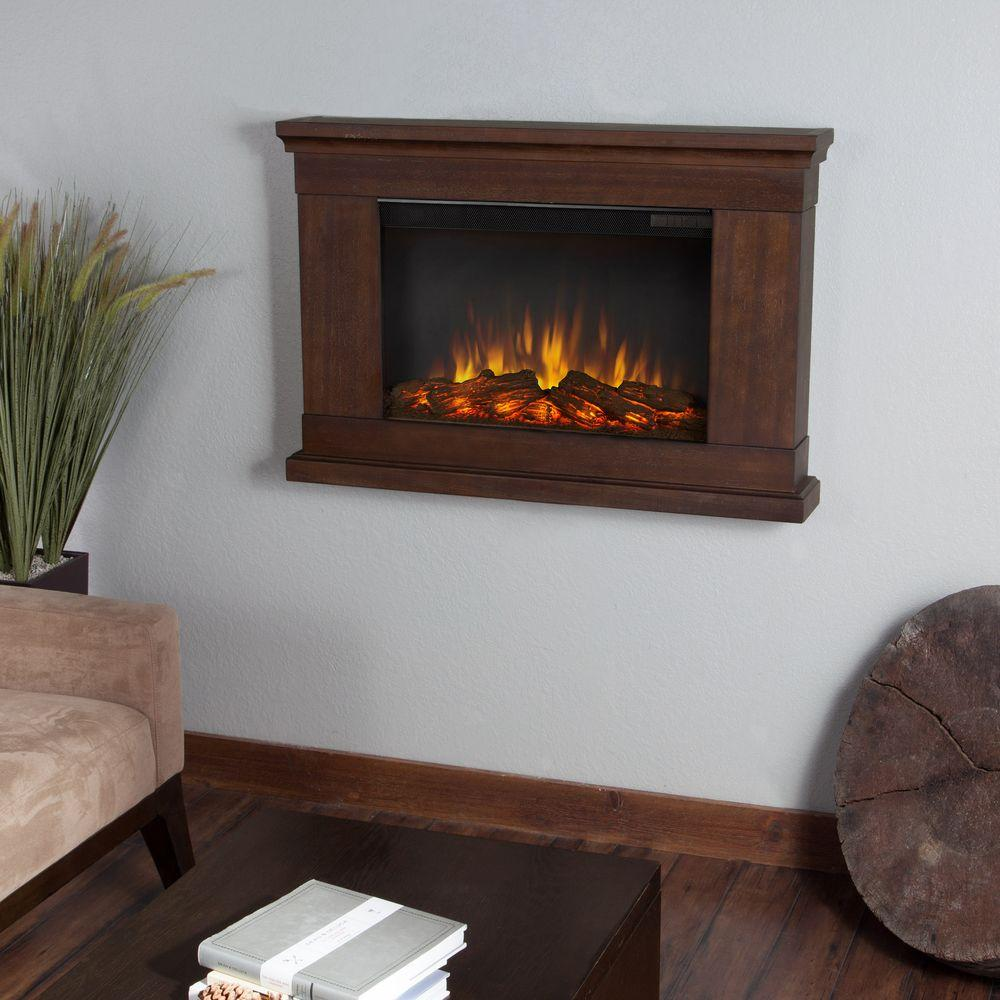 Real Flame Jackson 38 in. Wall-Mount Slim-Line Electric Fireplace in Vintage Black Maple