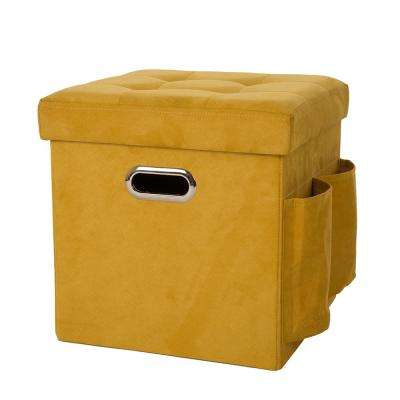 15 in. H Yellow Cube Faux Suede Foldable Storage Ottoman with Padded Seat