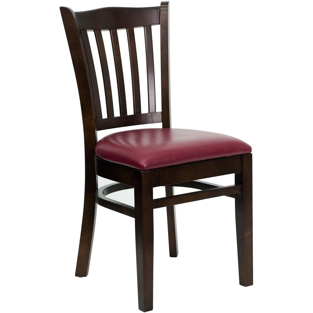 Hercules Series Walnut Vertical Slat Back Wooden Restaurant Chair with Burgundy Vinyl Seat