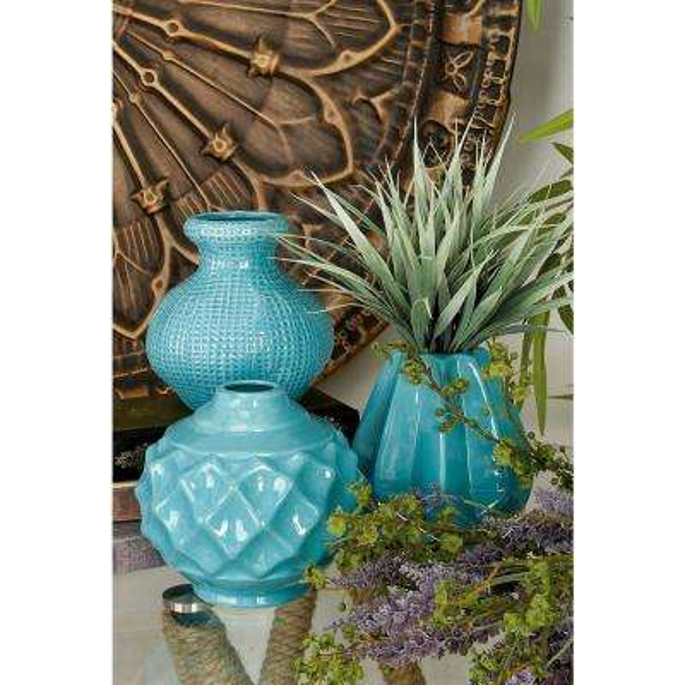 6 in. Modern Aquamarine Ceramic Decorative Vases (Set of 3)
