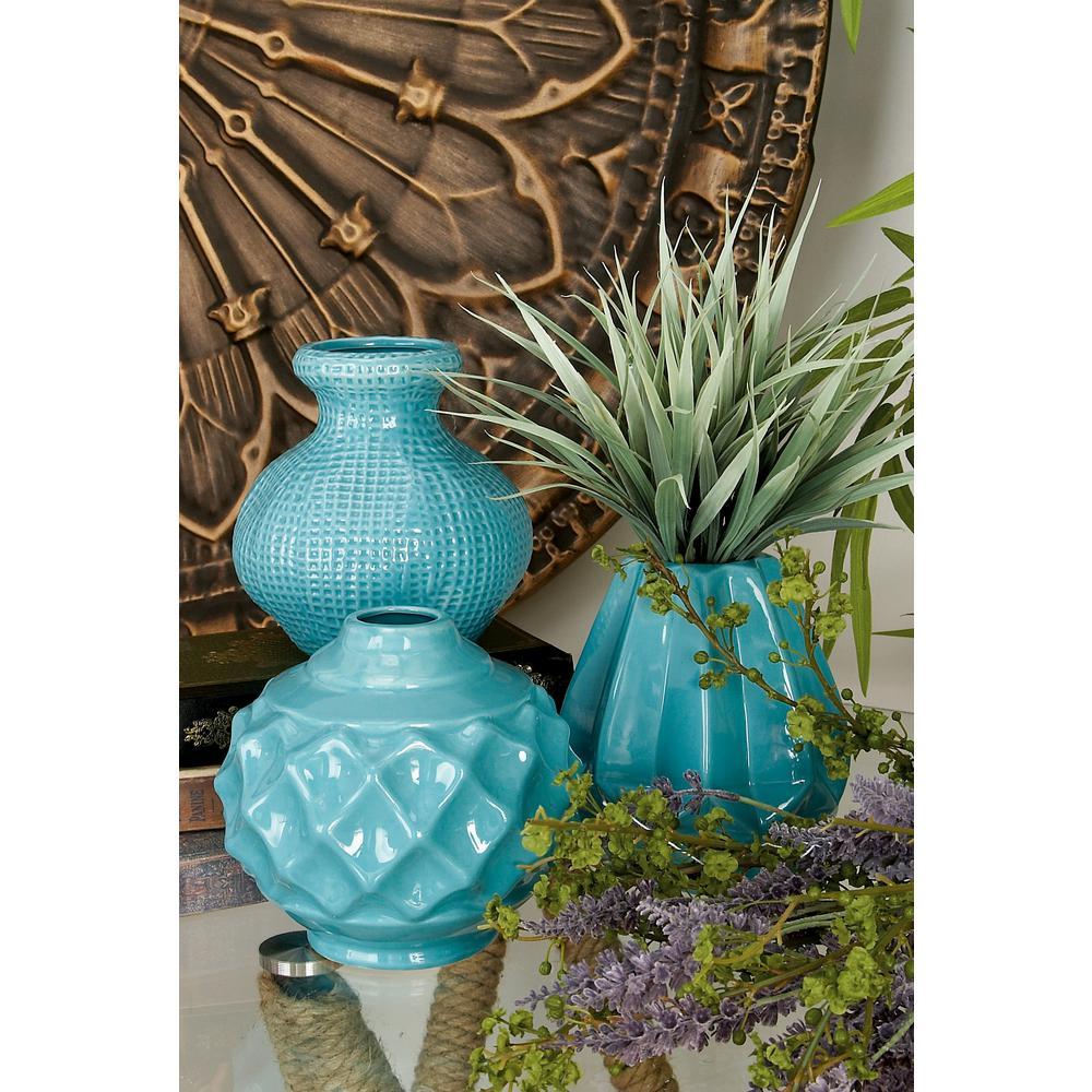 6 in modern aquamarine ceramic decorative vases set of 3 93663 modern aquamarine ceramic decorative vases set of 3 reviewsmspy