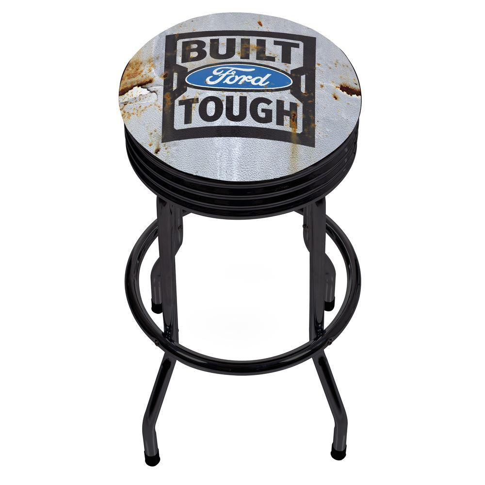 Ford Built Tough 29 In Chrome Swivel Cushioned Bar Stool