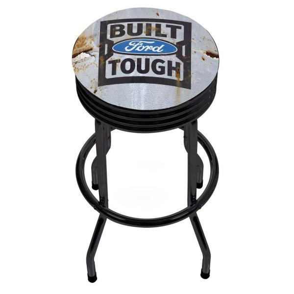Ford Built Tough 29 in. Chrome Swivel Cushioned Bar Stool FD1006-BFT