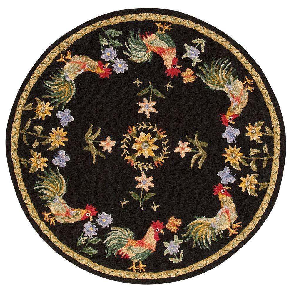 Home Decorators Collection Spring On The Farm Black 8 ft. Round Area Rug