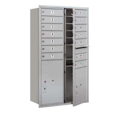 48 in. H x 31-1/8 in. W Aluminum Front Loading 4C Horizontal Mailbox with 13 MB1 Doors/1 PL5/1 PL6