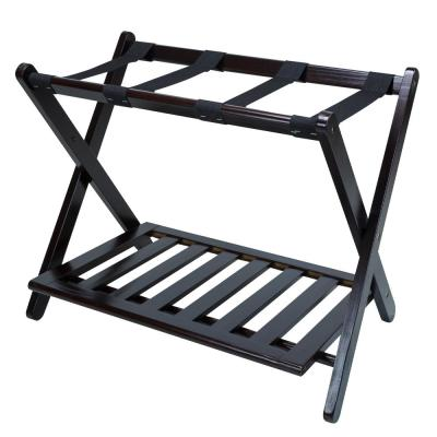 26.75 in. W x 16 in. D Espresso Solid Wood Luggage Rack with Shelf